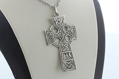 Vintage Sterling Silver 925 Celtic Cross Knot Scroll Religious Charm Pendant