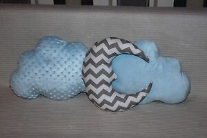 Cloud cushions and moon cushion set of 3 Handmade shaped nursery pillows kids