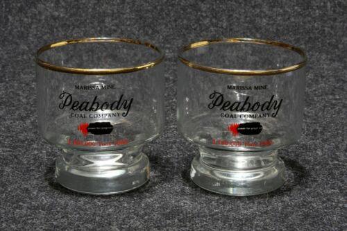 Pair Vintage Glass Tumblers Peabody Coal Company Marissa Mine Presentation Award