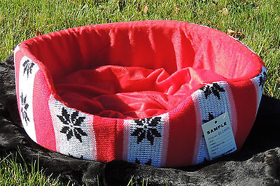 Small Knit & Plush Designer Dog/Cat/Pet Cozy Nest Bed Fashionable Soft Comfy New
