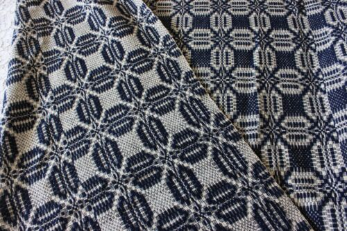 Antique Hand Loomed Indigo & White Summer-Winter Antique Coverlet c1860