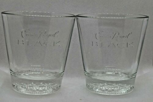 Lot Of 2 Crown Royal Black Whiskey Cocktail Glasses Etched