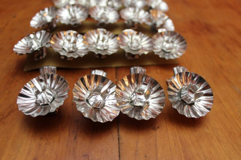 Vintage Lot of 24 Tin Metal Clip On Christmas Tree Candle Holders West Germany