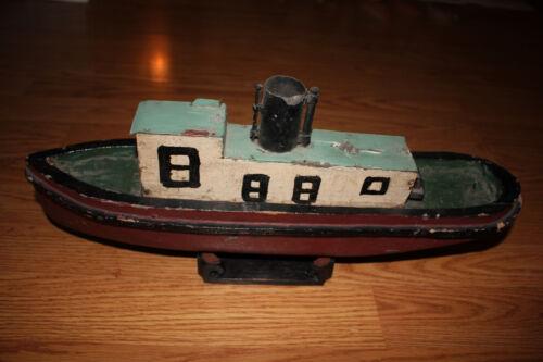 Antique Handmade Steamship Folk Art  Ship wood / tin Boat model GREAT LAKES