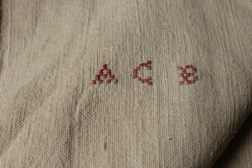 Antique French PURE linen soft monogram hand / kitchen towel ACB monogram