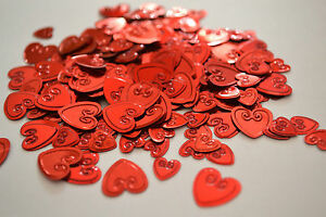 Red Confetti Hearts- scatter table decorations. Ideal forWeddings, Valentines.
