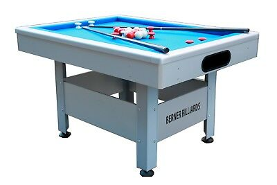 OUTDOOR BUMPER POOL TABLE IN SILVER w/BLUE CLOTH~THE ORLANDO