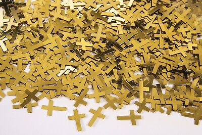 Confetti CROSS Metallic GOLD or SILVER Christening Confirmation Table décor  4-1