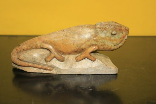 Chameleon lizard Stone carving  Brown Serpentine Shona Zimbabwe African Art #27