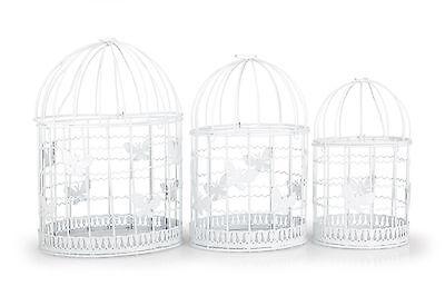 Set 3 Vogelkäfige als Deko für Candybar, Hochzeit Tischdekoration, weiß, Vintage