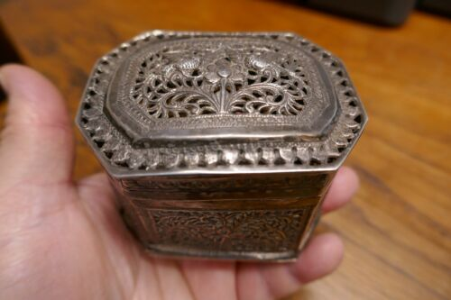 Antique 19th century South East Asian silver repousse & pierced worked Box
