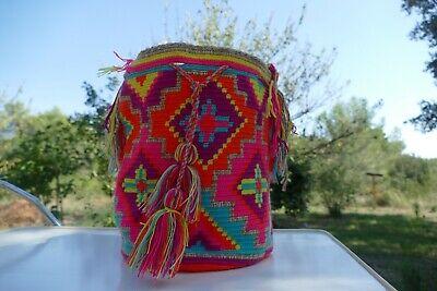 Unique Handmade Mochila Bag Authentic Wayuu Crochet Crossbody Bucket Sac