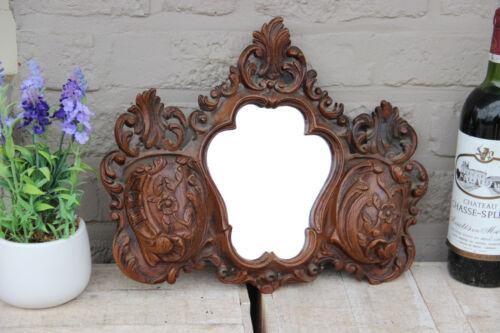 Vintage French Resin wood carved black forest look Kitchen Mirror towel rack