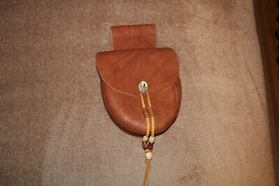 LEATHER BELT POUCH BAG  RENDEZVOUS FUR TRADE MOUNTAIN MAN DEER ANTLER BROWN
