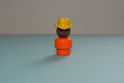 Vintage Fisher Price Little People WHOOPS Boy African American Orange Hat Yellow