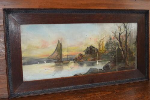 CHARCOAL DRAWING sailboat sea landscape 32x16 original antique carved oak frame
