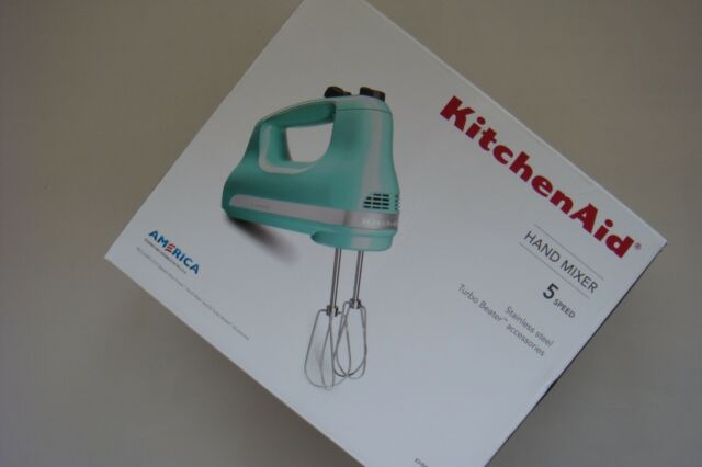 kitchenaid hand mixer 5 speed aqua sky khm512aq | ebay