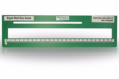 Royal Mail PPI Letter Size Guide Ruler Post Office Postal Price Postage in Green