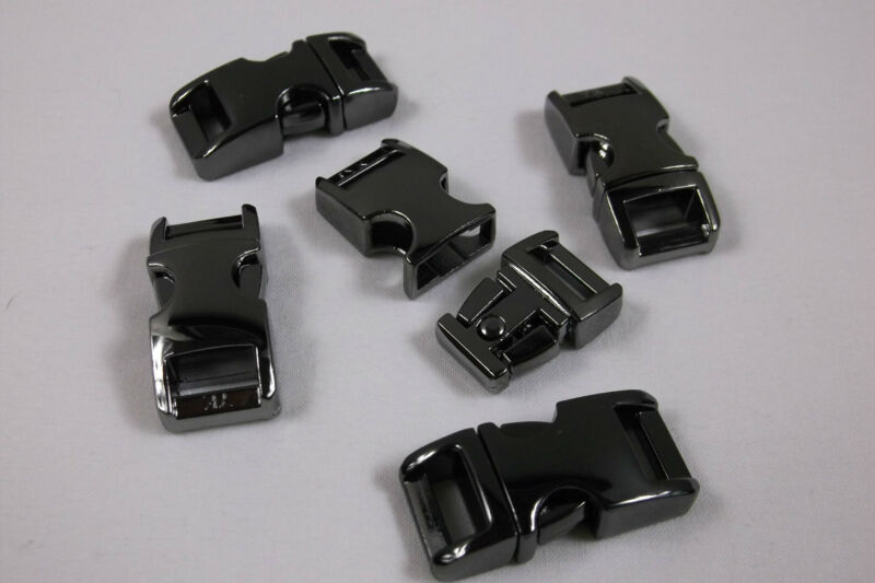 "3/8"" Metal Side Release Buckle Curved Top Gunmetal Paracord Bracelet 1 - 10 Pcs"