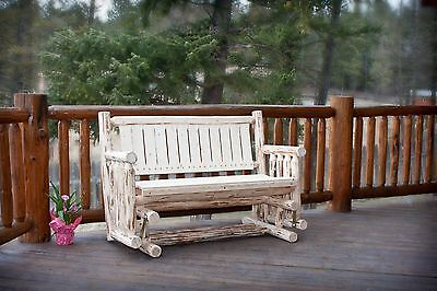 Rustic Outdoor Wood Gliders Amish Made Log Porch Glider Bench Unfinished Pine