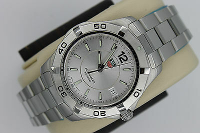 Tag Heuer NEW NWT NIB Silver Aquaracer Watch Mens WAF1112.BA0801 $1900 MINT BOX