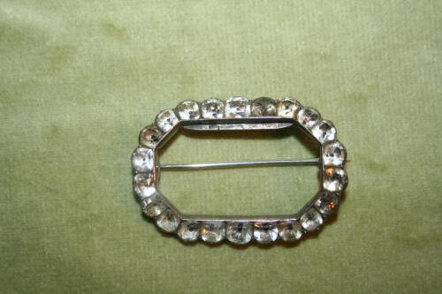Antique Georgian Black Dot Diamond Paste Silver Buckle Brooch (304)
