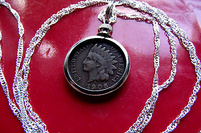"American Indian Head Penny Bezel Pendant on a 30"" 925 Sterling Silver Wavy Chain"
