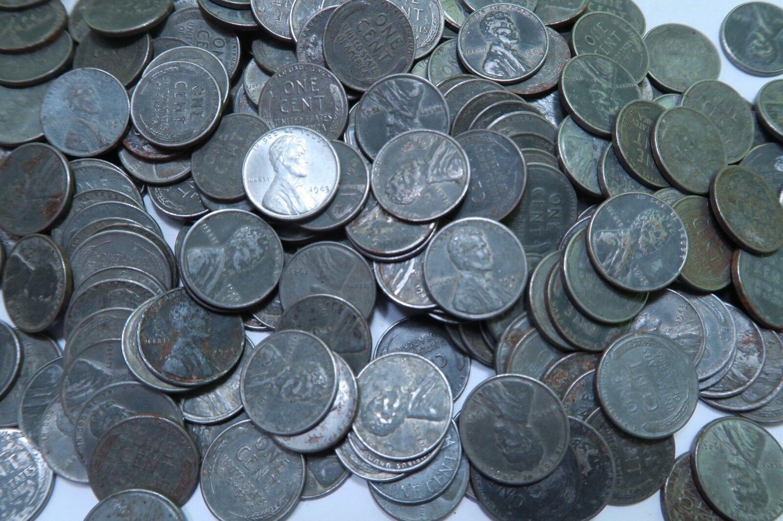 (50) 1943 Steel Wheat Penny Roll //  P+D+S // 50 Coins + BONUS