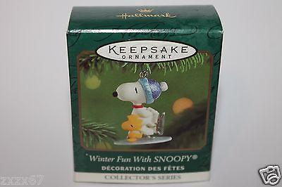 2001 Hallmark Winter Fun With Snoopy Ornament Miniature Keepsake  Skating #4
