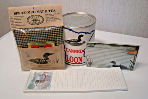 RARE CANNED LOON Spiced Mug Mat & Tea LOON RECIPE CARDS Loon Shopping List NEW