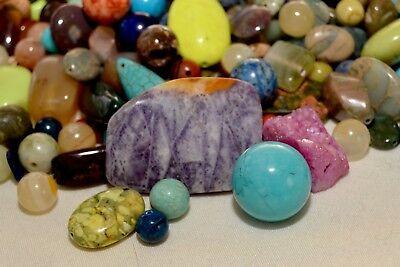 Bulk Semi-precious Gemstone Mix: 1/4 pound mixed stone beads, Jasper, Jade G111](Beads Bulk)