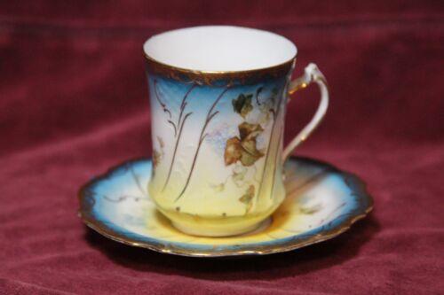 Erdmann Schlegelmilch  Porcelain Demitasse  Cup and Saucer  1890s Hand Painted