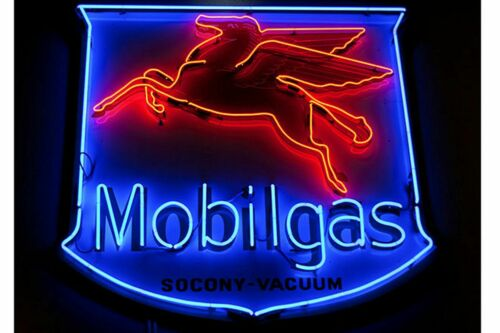 "New MobilGas Flying Pegasus Beer Bar Neon Sign 24""x20"""