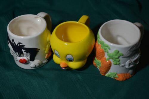 3 Vintage  Looney Tunes Mugs coffee mugs 1998 & 1999 Warner Bros.