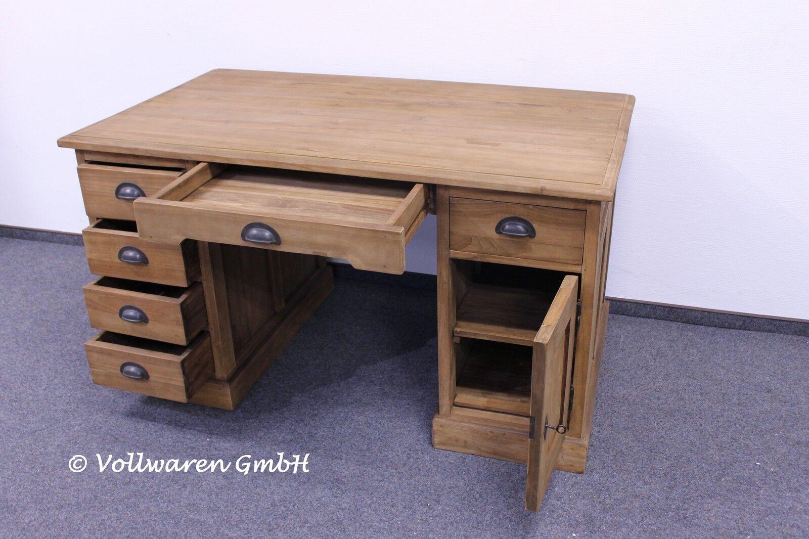teak kontor schreibtisch 80x140x78 teakholz antik massiv. Black Bedroom Furniture Sets. Home Design Ideas