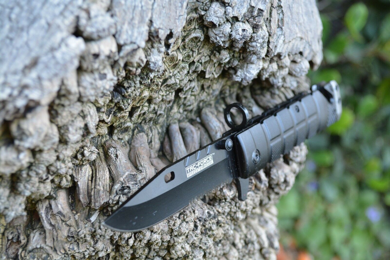 Tac Force Spring Assisted Open Black Bayonet Style Tactical Rescue Pocket Knife