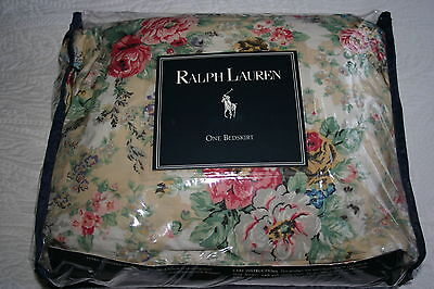(Vintage Ralph Lauren BRITTANY Multi Floral TWIN Ruffled BEDSKIRT NEW)
