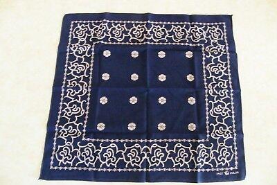 "Vtg Blue Bandana Elephant Trunk Down Fast Color Handkerchief Hanky 18 1/4""x19"