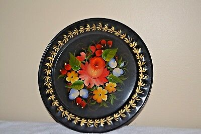 """VINTAGE HAND PAINTED TOLEWARE TRAY ROUND 12"""" FLOWERS"""