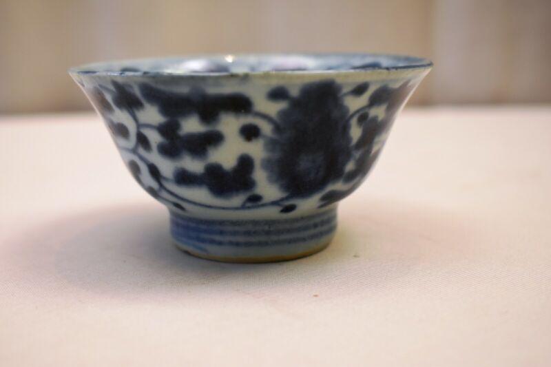 "Antique Chinese Blue White Bowl Desaru Shipwreck Nanhai Tea Bowl Decorative ""F"