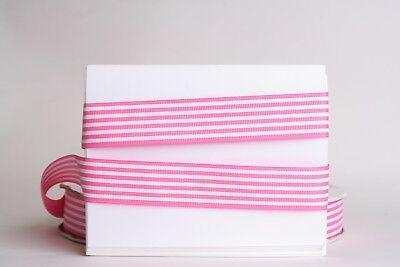 White Stripe Grosgrain (PINK White Stripes 1
