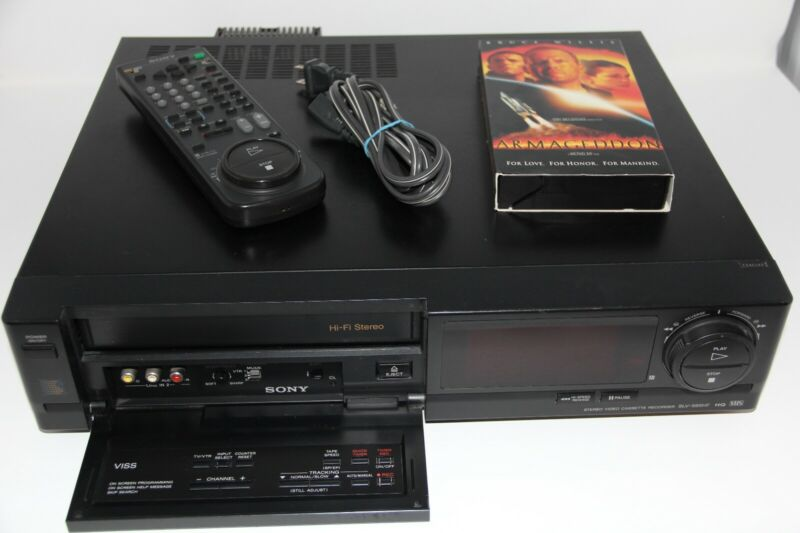 Sony VHS VCR Recorder Hi-Fi Stereo SLV-595 HF VCR Plus PowerCable & Remote Japan