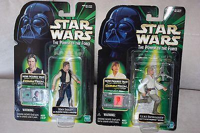 Star Wars Power Of The Force Comm Tech Han Solo Luke Skywalker Action Figure Nip