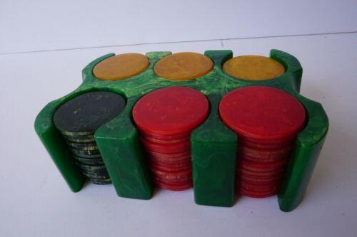 Vintage Bakelite Poker Chip Set Small 94 chips