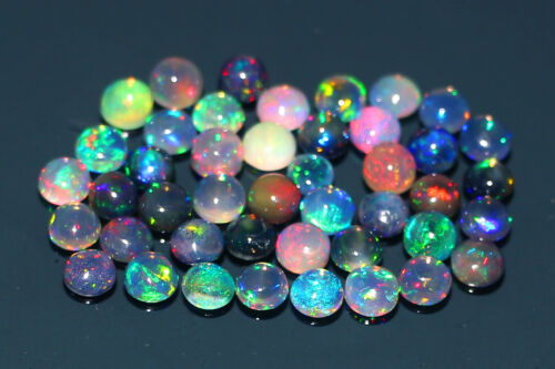 AA+44Pcs 5MM Round Mix Lot Natural Ethiopian Welo Fire Opal Loose Cabochon #R6