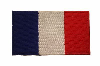 FRANCE COUNTRY FLAG SMALL EMBROIDERED IRON-ON PATCH CREST BADGE 1.5 X 2.5 INCHES - France Country Flag