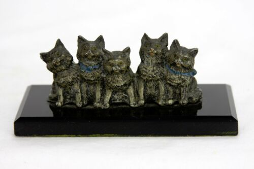 Antique German Cold Painted Cast Metal Cats / Kittens ca1910