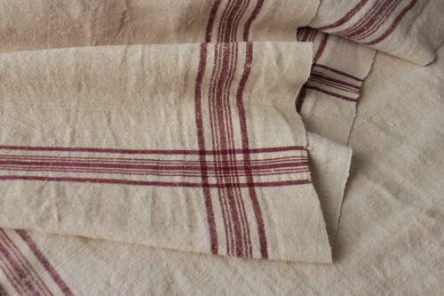 Homespun Fustian linen cotton per 2 yards red / pink stripe material fabric