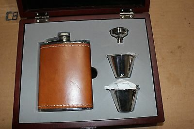 CONCORD Stainless Steel & Tan Leather Flask Set in a Rosewood Case - Bar Tools