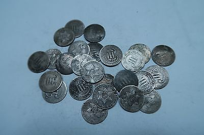 (1) Random SILVER Three Cent Coin (3 Cent) // WITH DATE! // 1 Coin